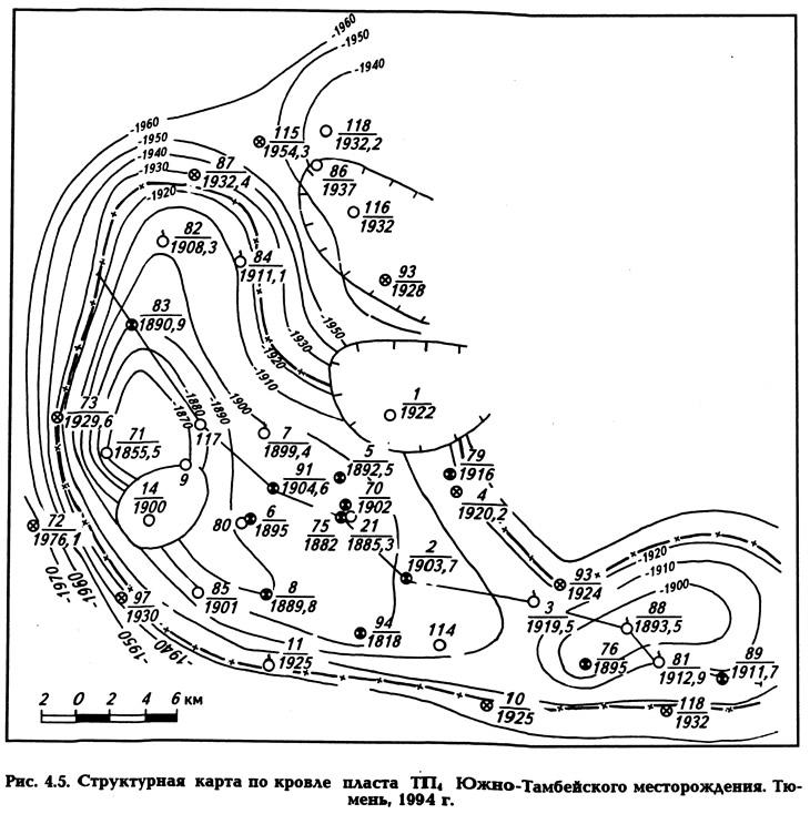 Рис. 4.5. Структурная карта по кровле пласта ТП4 Южно-Тамбейского месторождения