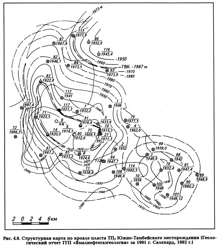 Рис. 4.6. Структурная карта по кровле пласта ТП5 Южно-Тамбейского месторождения