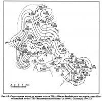 Рис. 4.7. Структурная карта по кровле пласта ТП13/0 Южно-Тамбейского месторождения