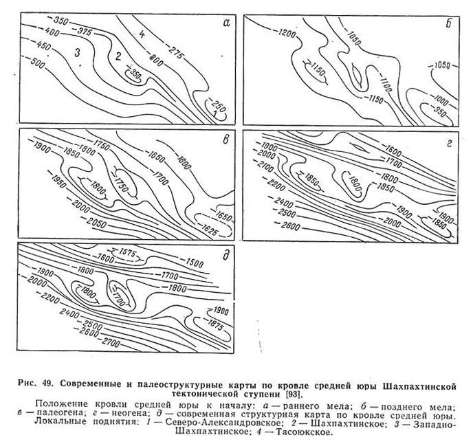 Рис. 49. Современные и палеоструктурные карты по кровле средней юры