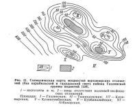 Рис. 51. Схематическая карта мощностей верхнеюрских отложений