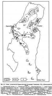 Рис. 5.3. Схема угленосности баррем-аптских отложений