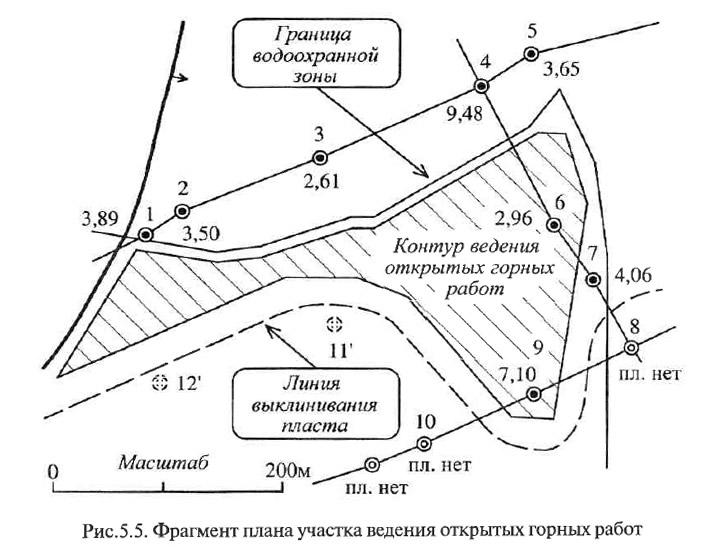 Рис. 5.5. Фрагмент плана участка ведения открытых горных работ