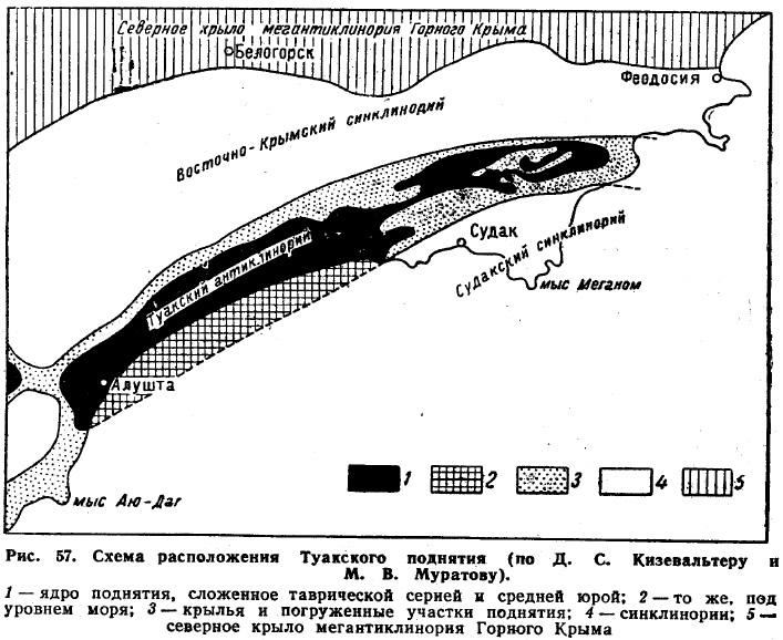 Рис. 57. Схема расположения Туакского поднятия