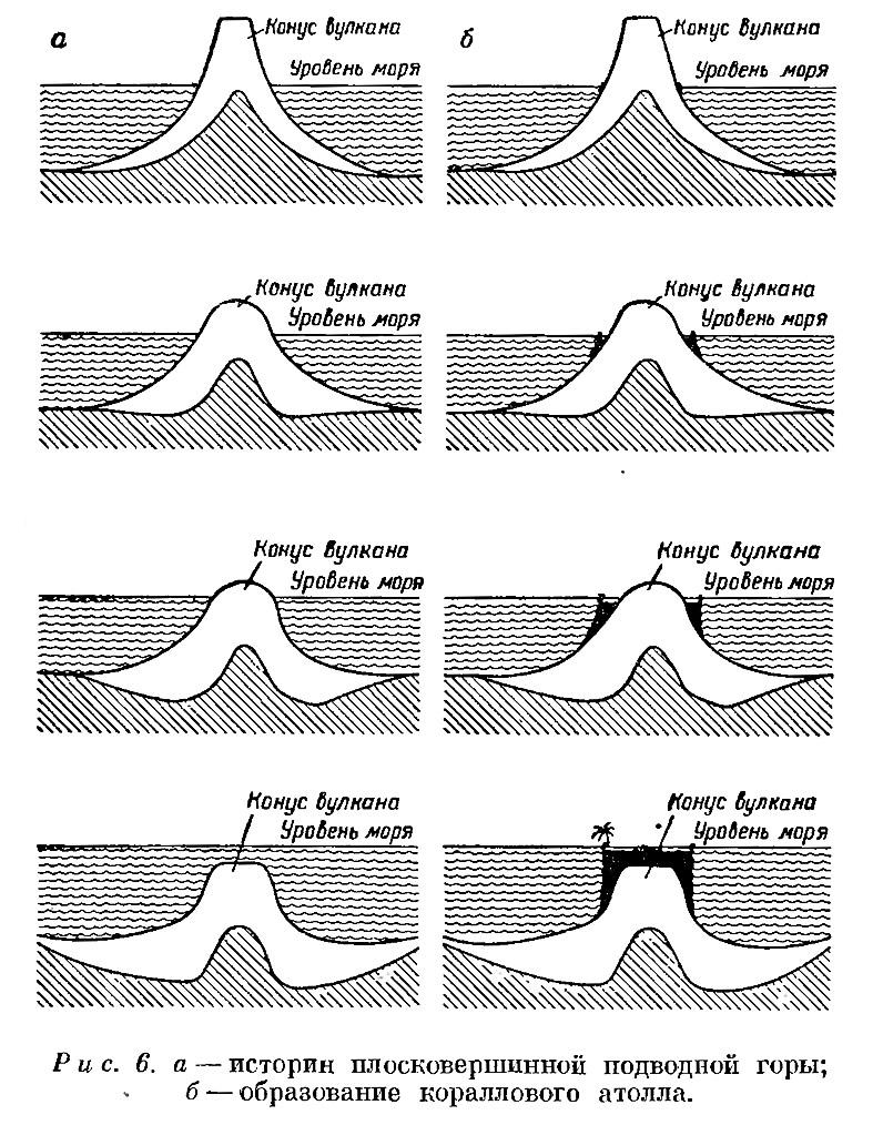 Рис. 6. а — истории плосковершинной подводной горы; б — образование кораллового атолла