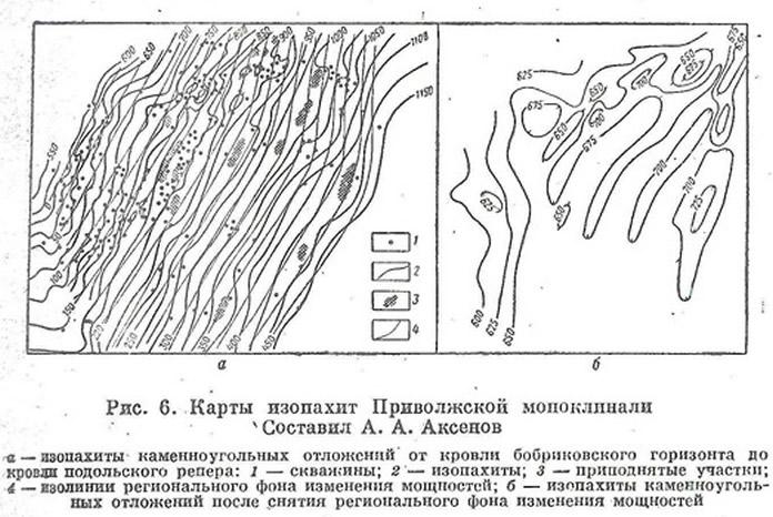 Рис. 6. Карты изопахит Приволжской моноклинали