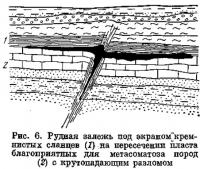 Рис. 6. Рудная залежь под экраном кремнистых сланцев