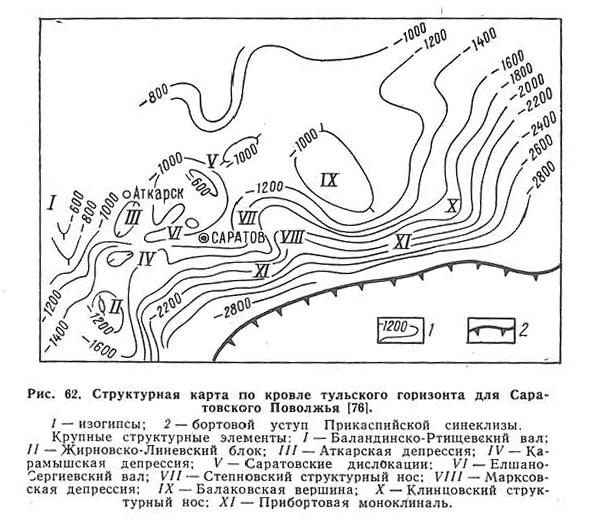 Рис. 62. Структурная карта по кровле тульского горизонта для Саратовского Поволжья