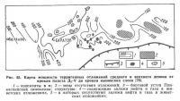 Рис. 63. Карта мощности терригенных отложений среднего и верхнего девона