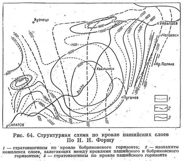 Рис. 64. Структурная схема по кровле пашинских слоев
