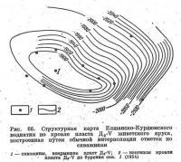 Рис. 66. Структурная карта Елшанско-Курдюмского поднятия