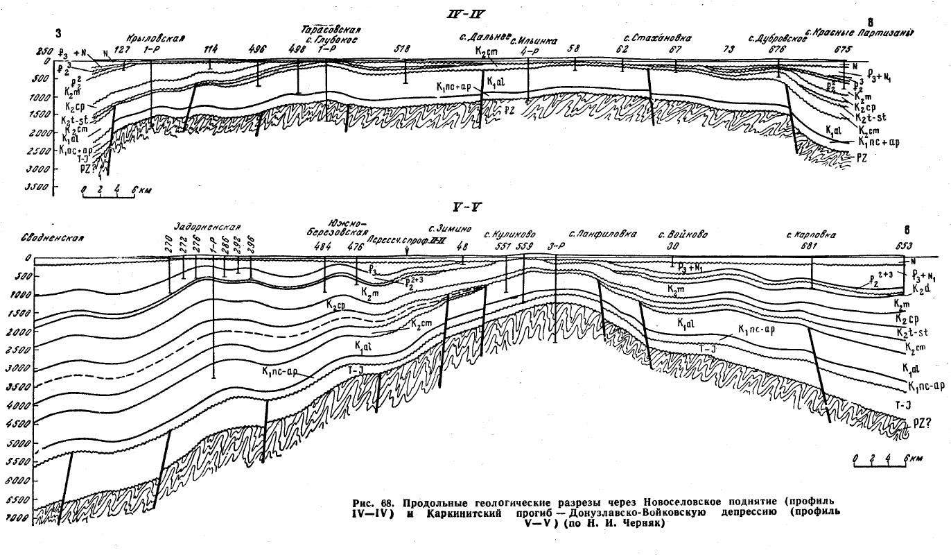 Рис. 68. Продольные геологические разрезы через Новоселовское поднятие