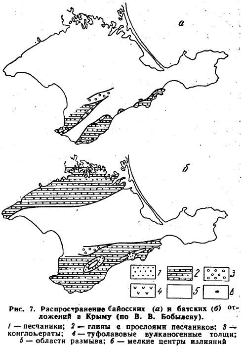 Рис. 7. Распространение байосских и батских отложений в Крыму