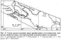 Рис. 7. Схема расположения ряда профильных геологических разрезов