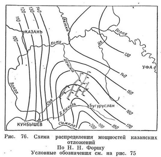 Рис. 70. Схема распределения мощностей казанских отложений