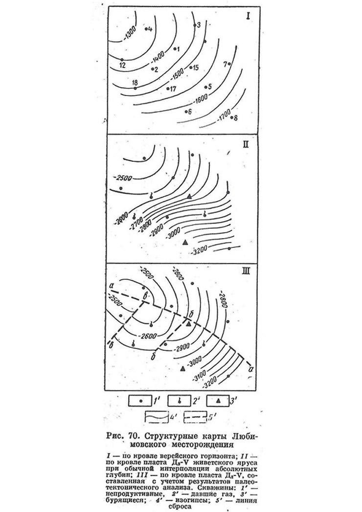 Рис. 70. Структурные карты Любимовского месторождения