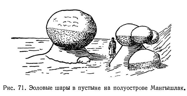 Рис. 71. Эоловые шары в пустыне на полуострове Мангышлак