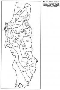 Рис. 7.2. Схема расположения эталонных и подсчетных участков в альб-сеноманском комплексе