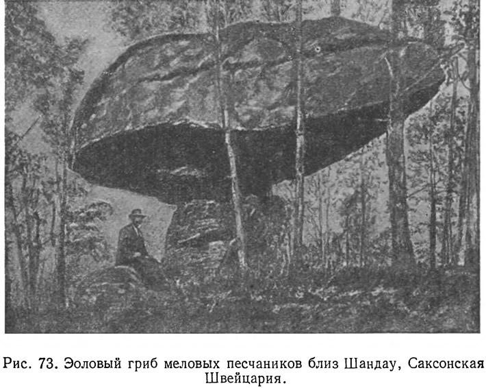 Рис. 73. Эоловый гриб меловых песчаников близ Шандау