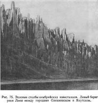 Рис. 75. Эоловые столбы кембрийских известняков