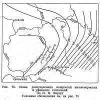Рис. 78. Схема распределения мощностей нижнепермских и уфимских отложений