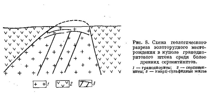 Рис. 8. Схема геологического разреза золоторудного месторождения