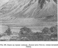 Рис. 86. Осыпи на горных склонах. Долина реки Мук-су
