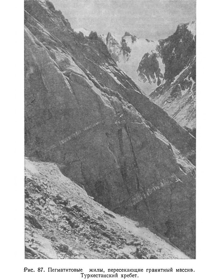 Рис. 87. Пегматитовые жилы, пересекающие гранитный массив