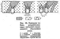 Рис. 88. Примеры забоев, разрабатываемых системой управляемого обрушения руды