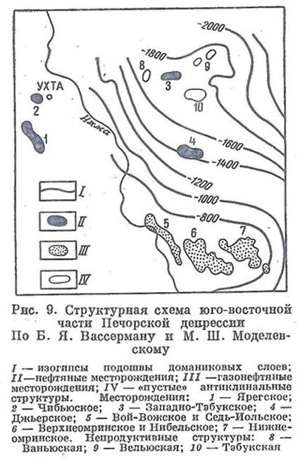 Рис. 9. Структурная схема юго-восточной части Печорской депрессии