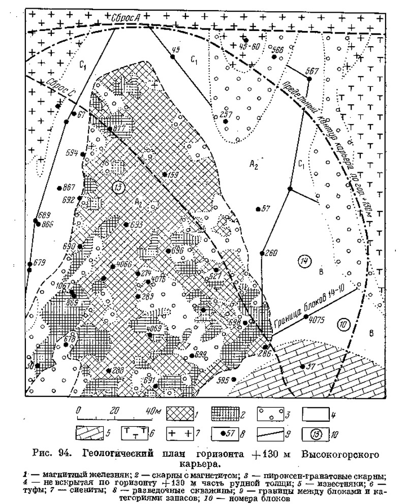 Рис. 94. Геологический план горизонта высокoropного карьера