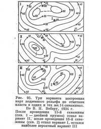 Рис. 95. Три варианта построения карт подземного рельефа по отметкам пласта