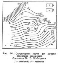 Рис. 96. Структурная карта по кровле девонских отложений