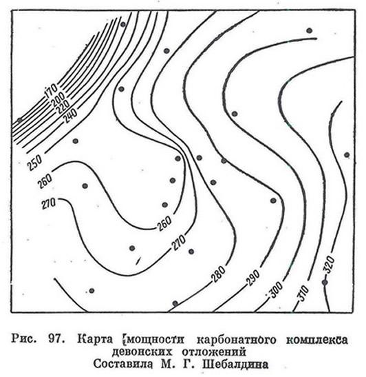 Рис. 97. Карта мощности карбонатного комплекса девонских отложений
