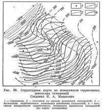 Рис. 98. Структурная карта по поверхности терригенных девонских отложений