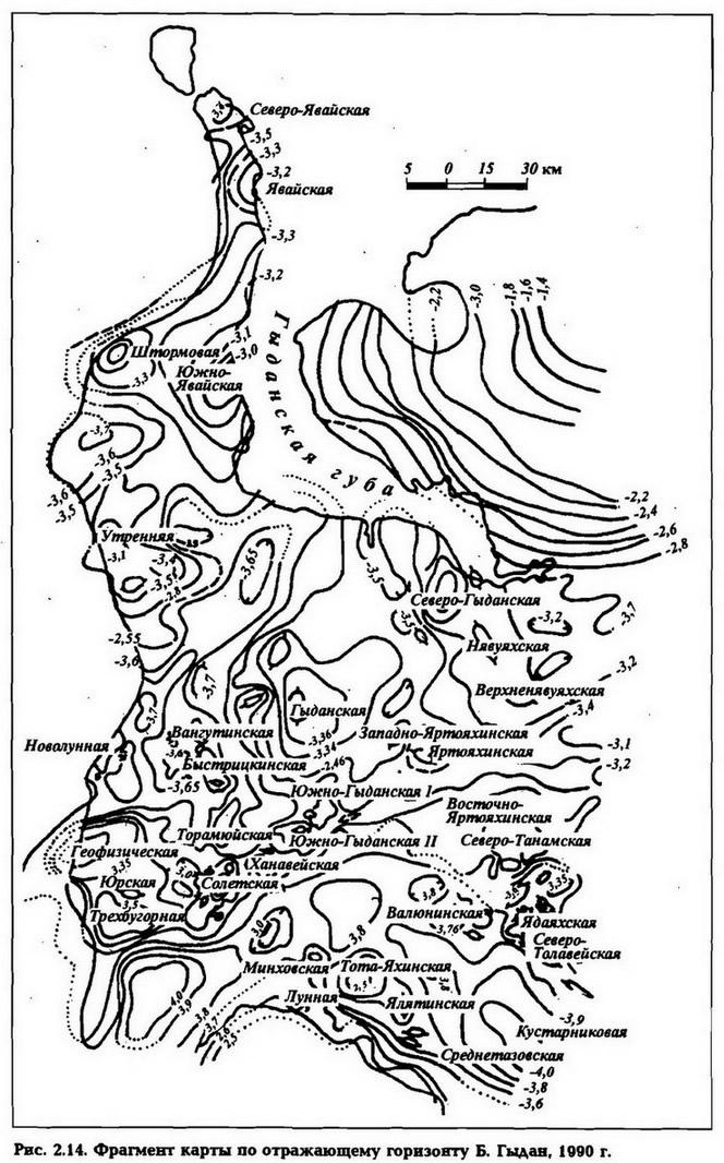 Рве. 2.14. Фрагмент карты по отражающему горизонту Б. Гыдан, 1090 г.