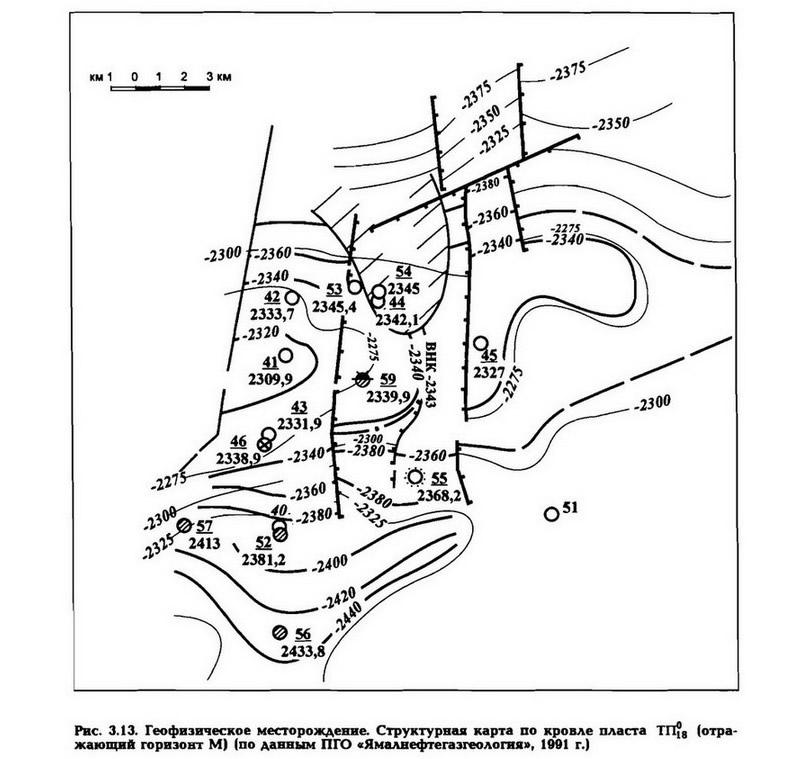 Рве. 3.13. Геофизическое месторождение. Структурная карта по кровле пласта ТП18
