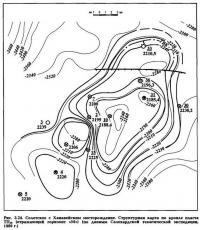 Ряс. 3.24. Солетское с Ханавейским месторождение. Структурная карта но кровле пласта ТП16